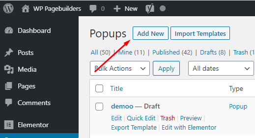Elementor pro pop up builder