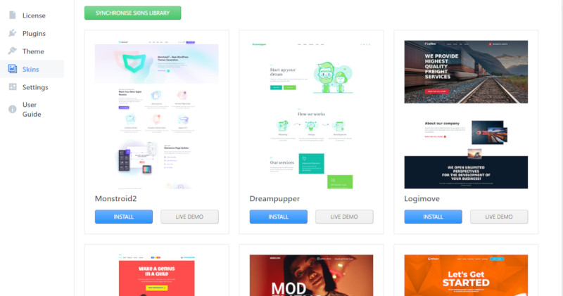 Divi vs Monstroid2: Monstroid2' skin library
